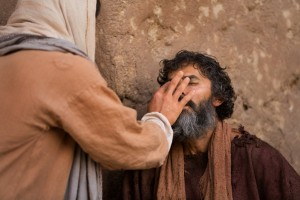 Ježíš zázračně uzdravuje slepého muže