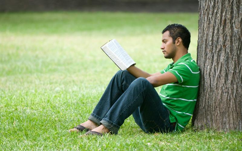 Muž, který čte pod stromem písma