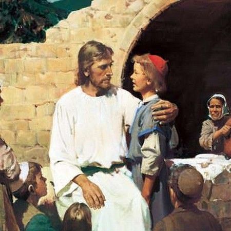 Ježíš v Jeruzalémě učí děti