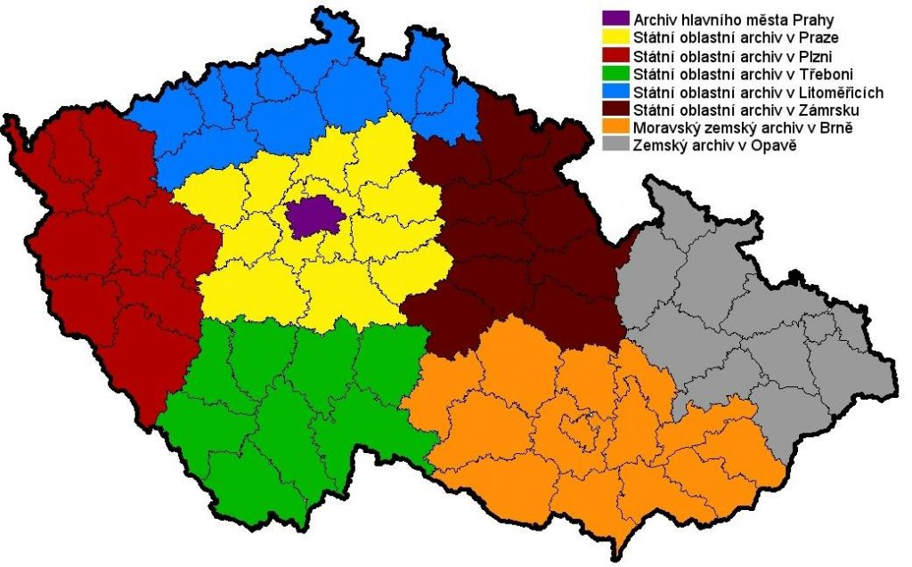 statni oblastni archivy mapa