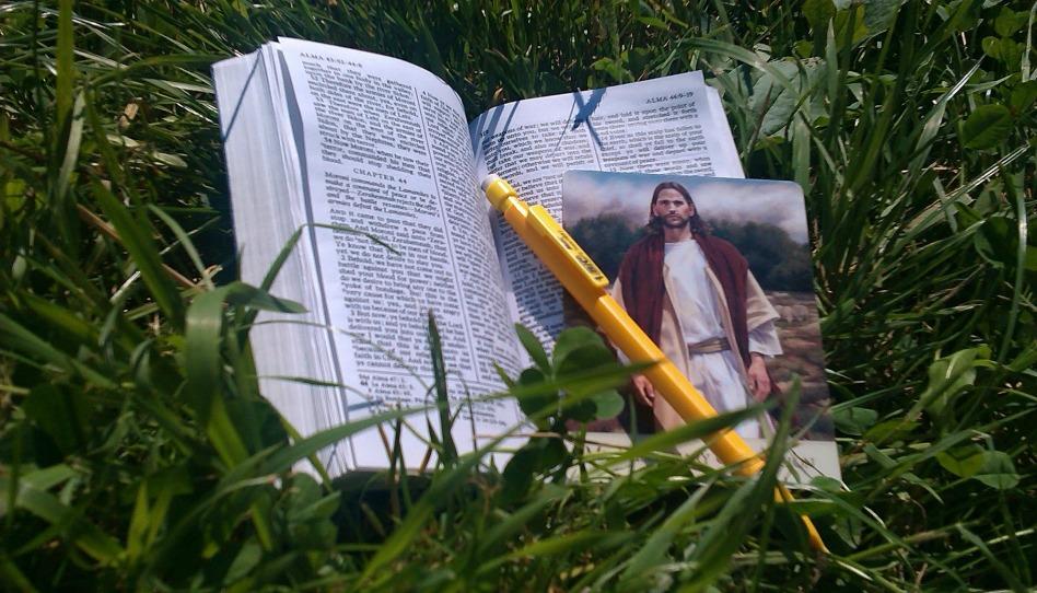 pisma v s obrazkem krista v trave
