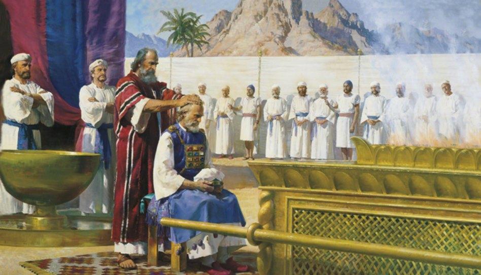 Mojžíš předává Áronovi kněžství, obraz od Harryho Andersona