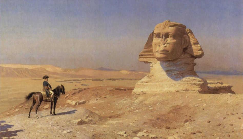 Napoleón Bonaparte před Sfingou, obraz od J. L. Géroma z egyptského tažení