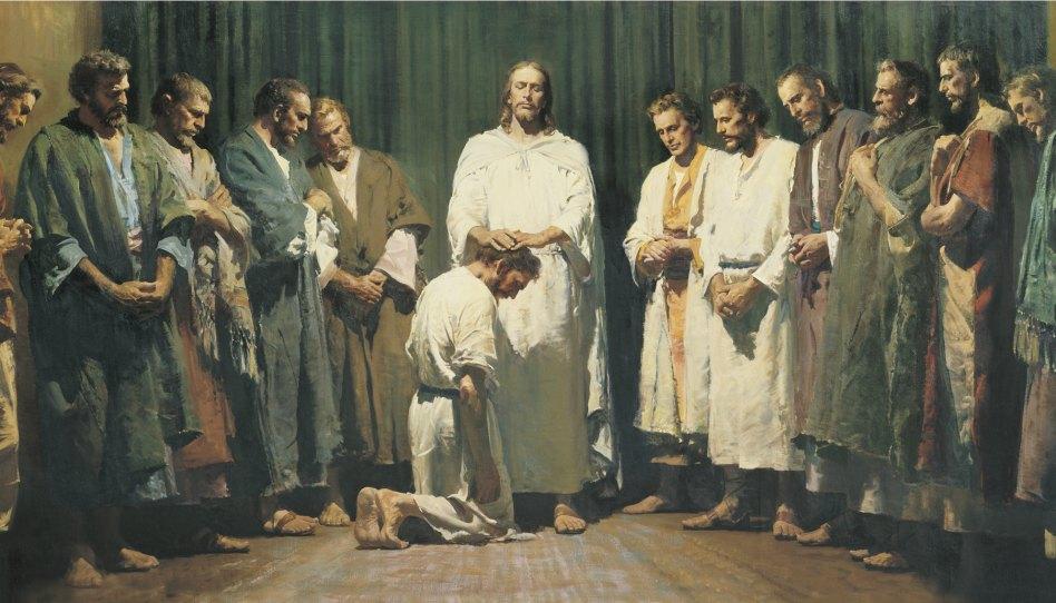 Ježíš předává kněžství učedníkům - obraz Harryho Andersona