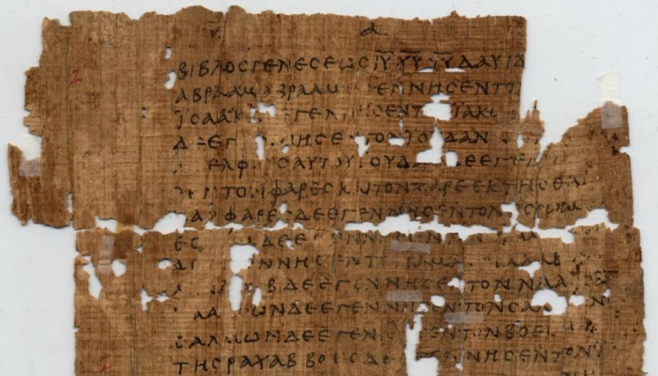 fragment P1, pochází ze 3. století, jsou na něm úryvky 1. kapitoly Matouše