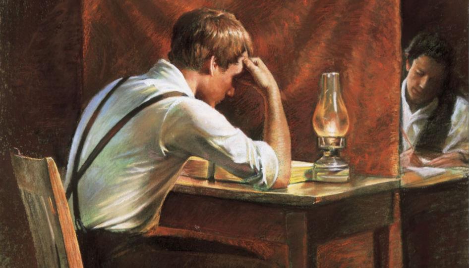 Joseph Smith a Oliver Cowdery překládají Knihu Mormonovu
