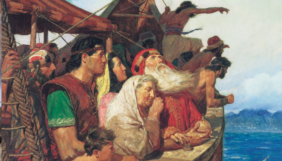 Lehi a jeho rodina opouští Jeruzalém na lodi